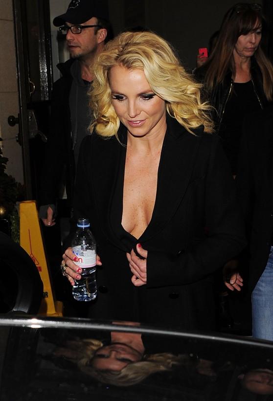 Britney Spears Street Style - in a Low-Cut Dress