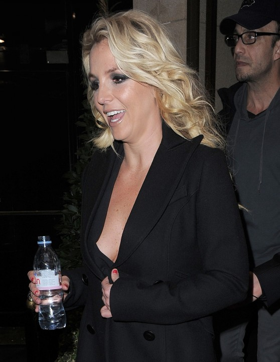 Britney Spears Street Style - in a Low-Cut Dress