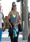 Alessandra Ambrosio Street Style - Leaving the Gym in Santa Monica