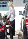 Ali Larter in Jeans at a Pet Groomers in Los Angeles
