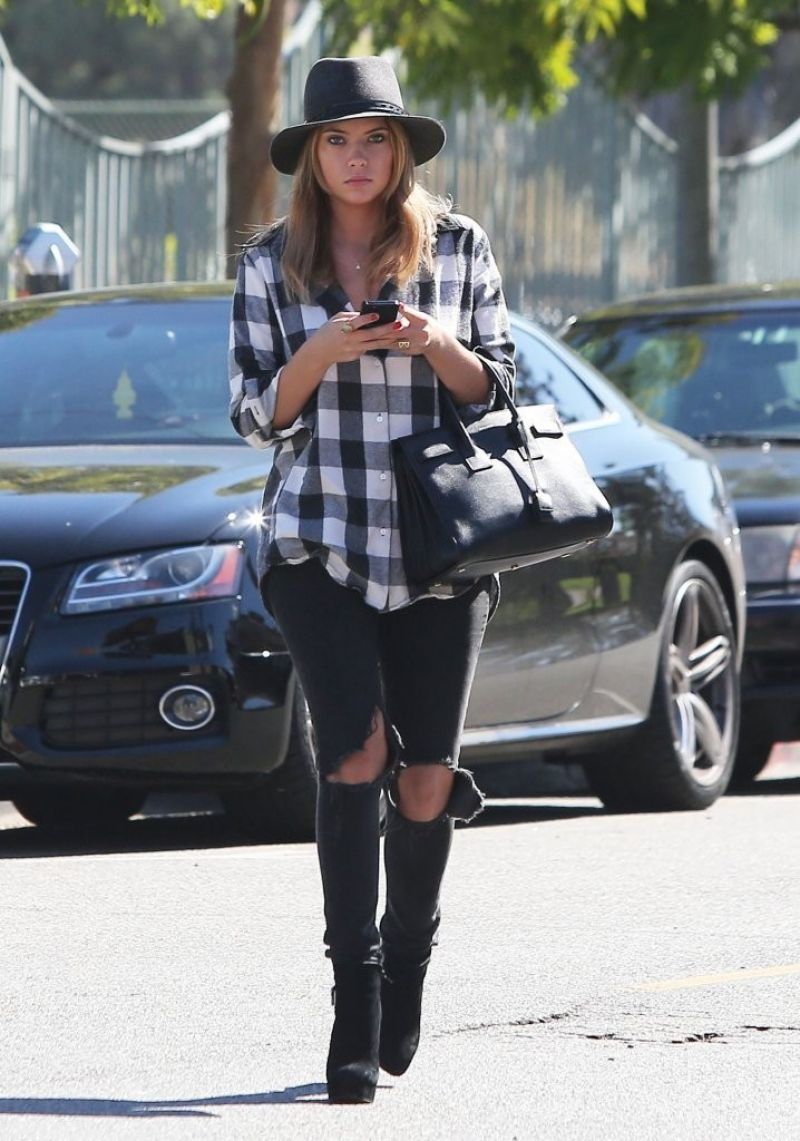 Ashley Benson - Heels and Ripped Jeans out in Santa Monica