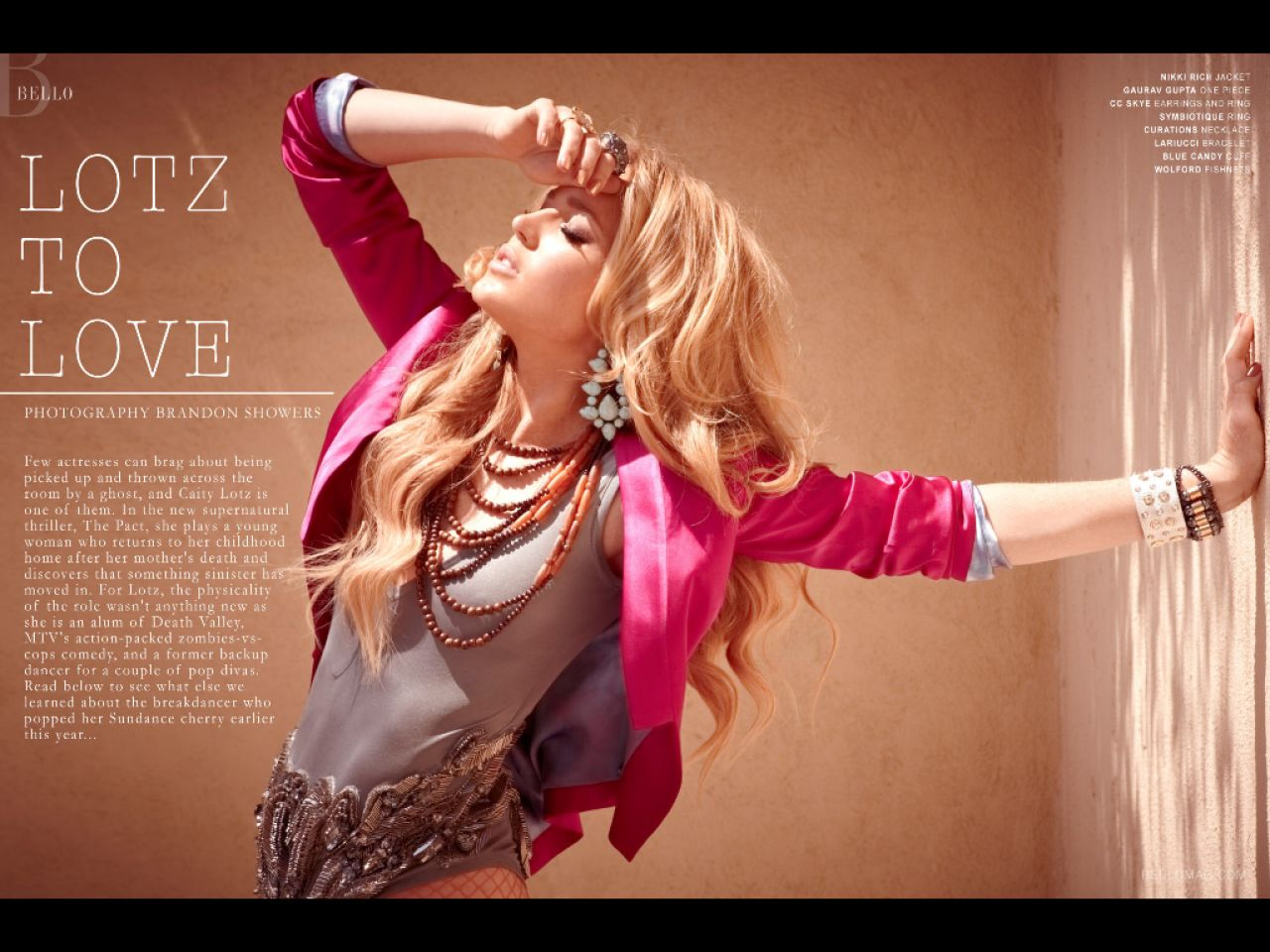 Caity Lotz - Bello Magazine 2012