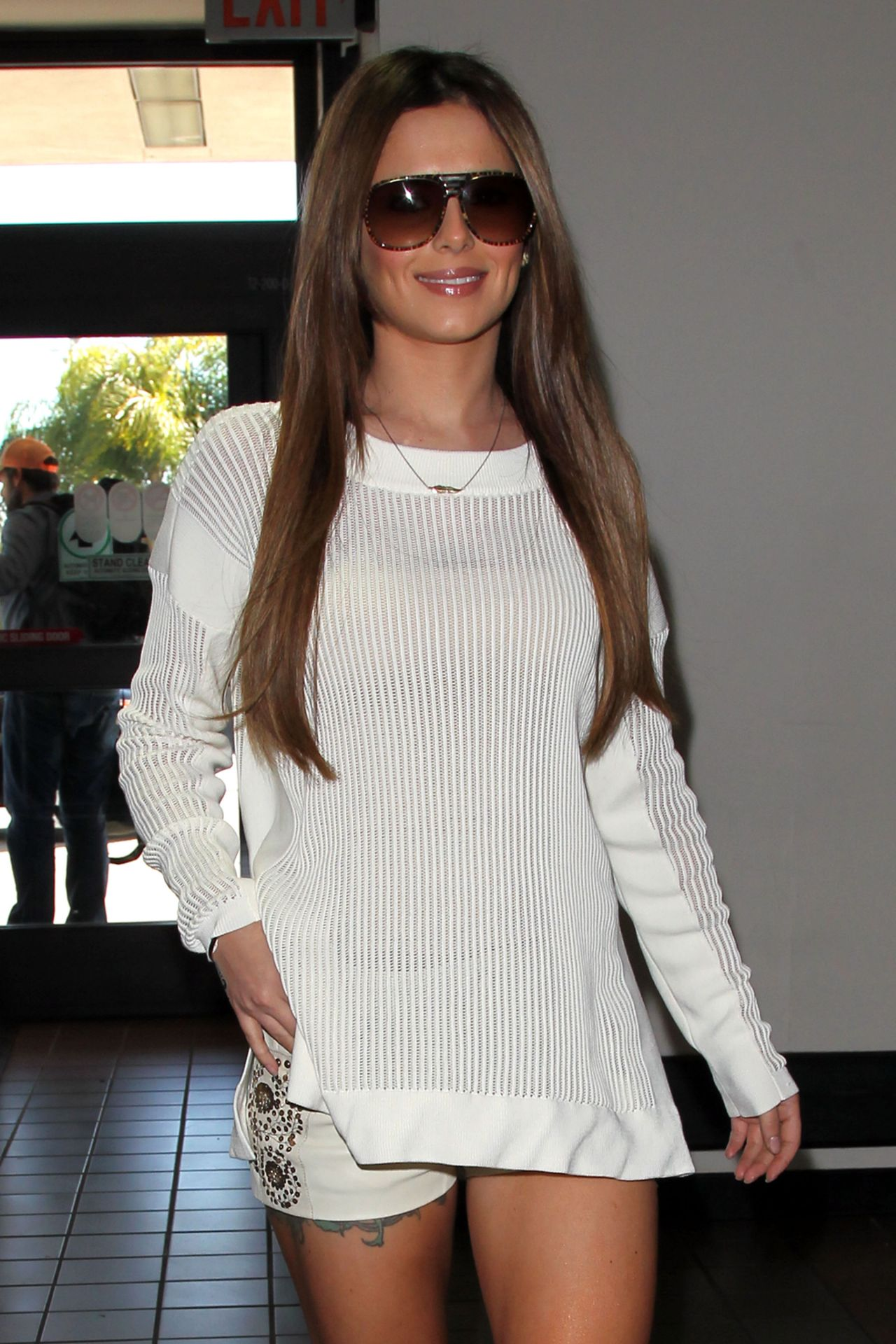Cheryl Cole Street Style In White Knit Alexander Wang