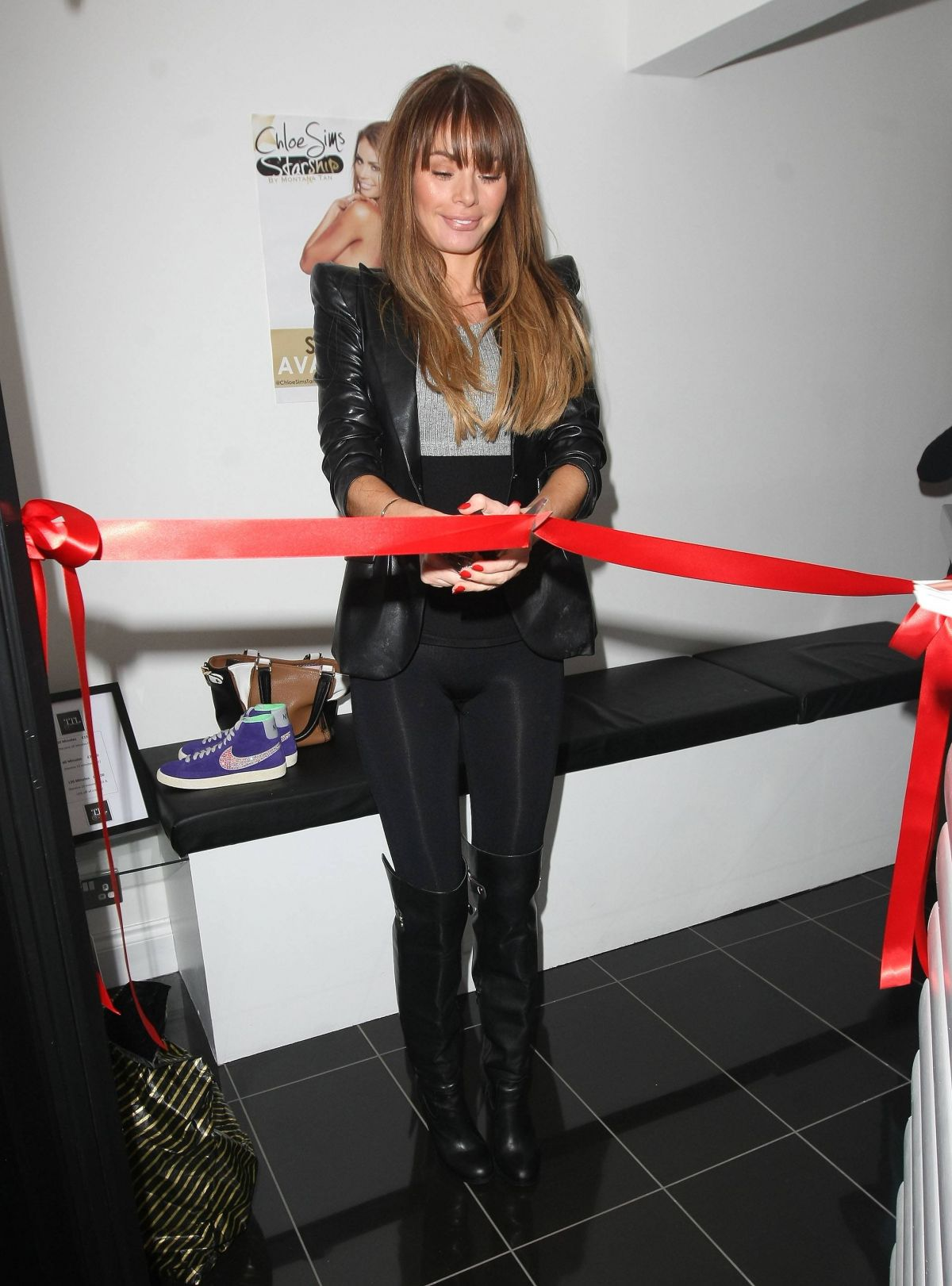 Chloe Sims In Black Spandex Opening A Tanning Shop In