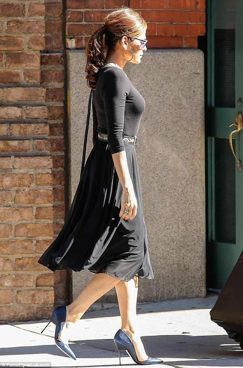 I N S P I R A T I O N On Pinterest: Eva Mendes In A Black Midi Dress Out In New York City