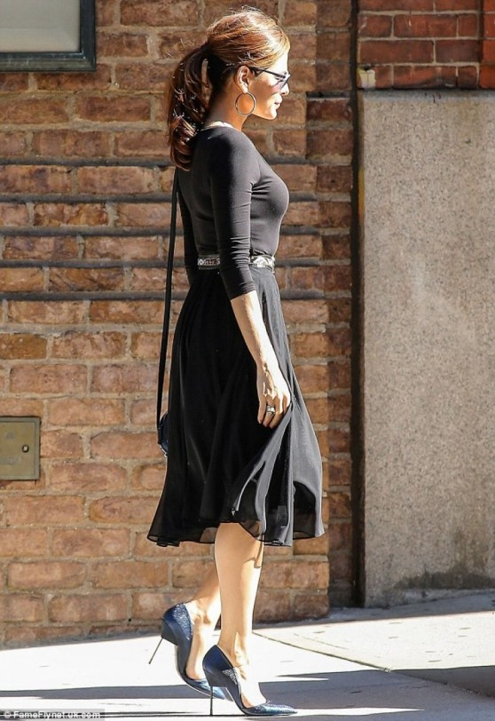 Eva Mendes in a Black Midi Dress out in New York City