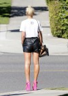 Helen Flanagan in leather shorts