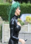 Jessica Wright in Skin Tight Catsuit Outside Her Home in Essex