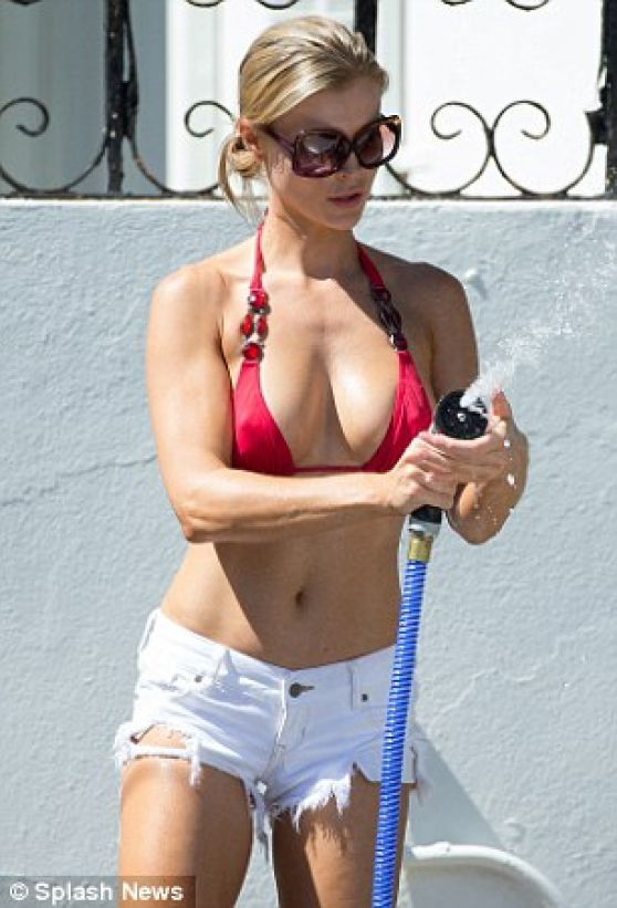 Joanna Krupa in Bikini Top, Washing a Car in Miami