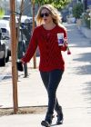 Kaley Cuoco in a Red Sweater, Ready for the Fall Weather