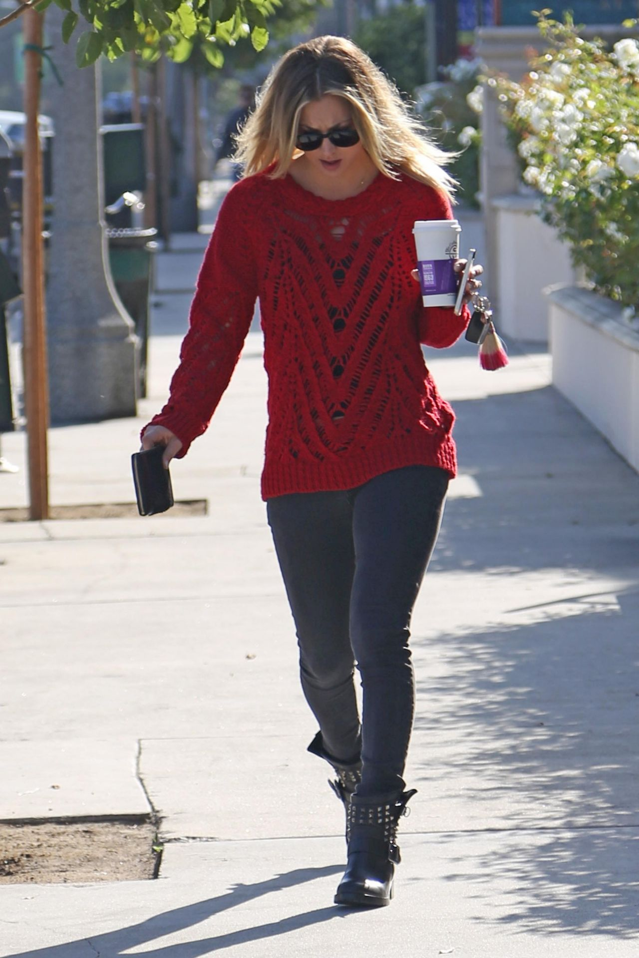 Kaley Cuoco Street Style In A Red Sweater