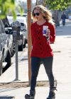 Kaley Cuoco Street Style - in a Red Sweater
