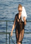 Kylie Minogue in  Leopard Print Swimsuit - Portofino July 2013