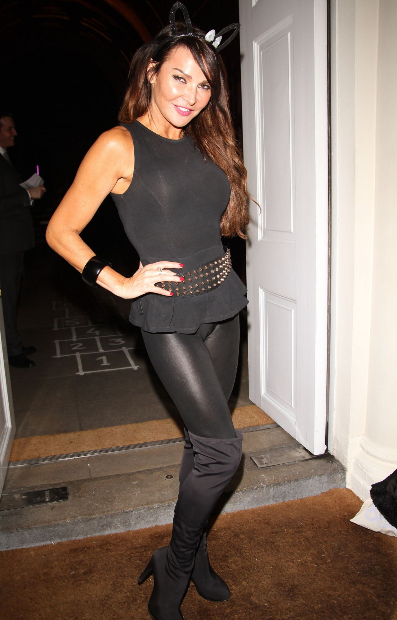 Lizzie Cundy In Tight Spandex Sketch Halloween Party London