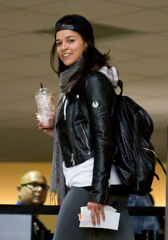 Michelle Rodriguez Street Style - Departing On A Flight At LAX