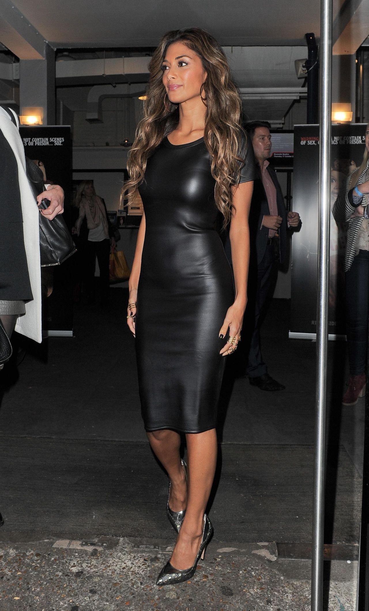 Nicole Scherzinger Street Style In Leather Dress