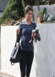 Nikki Reed Street Style - in Tights at a Gym in Studio City