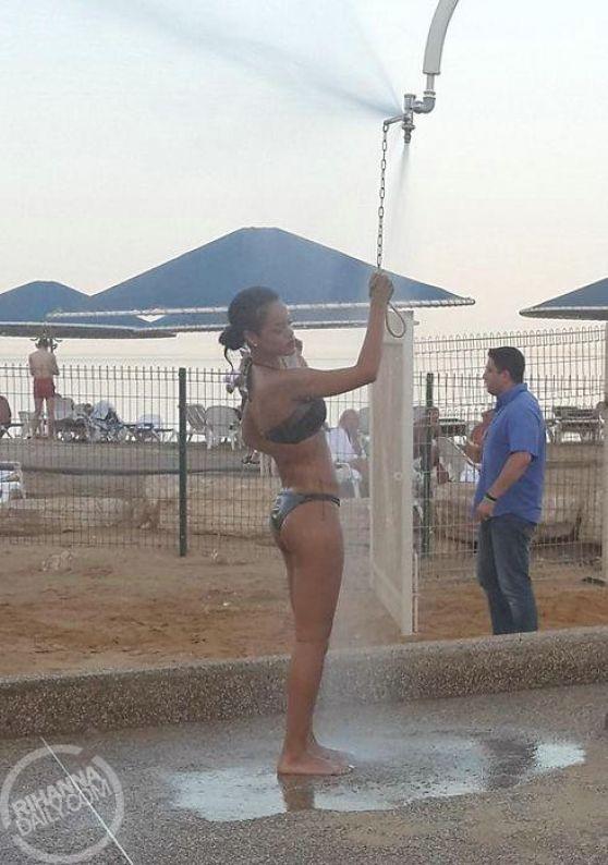 Rihanna in Bikini - Visits the Dead Sea in Israel