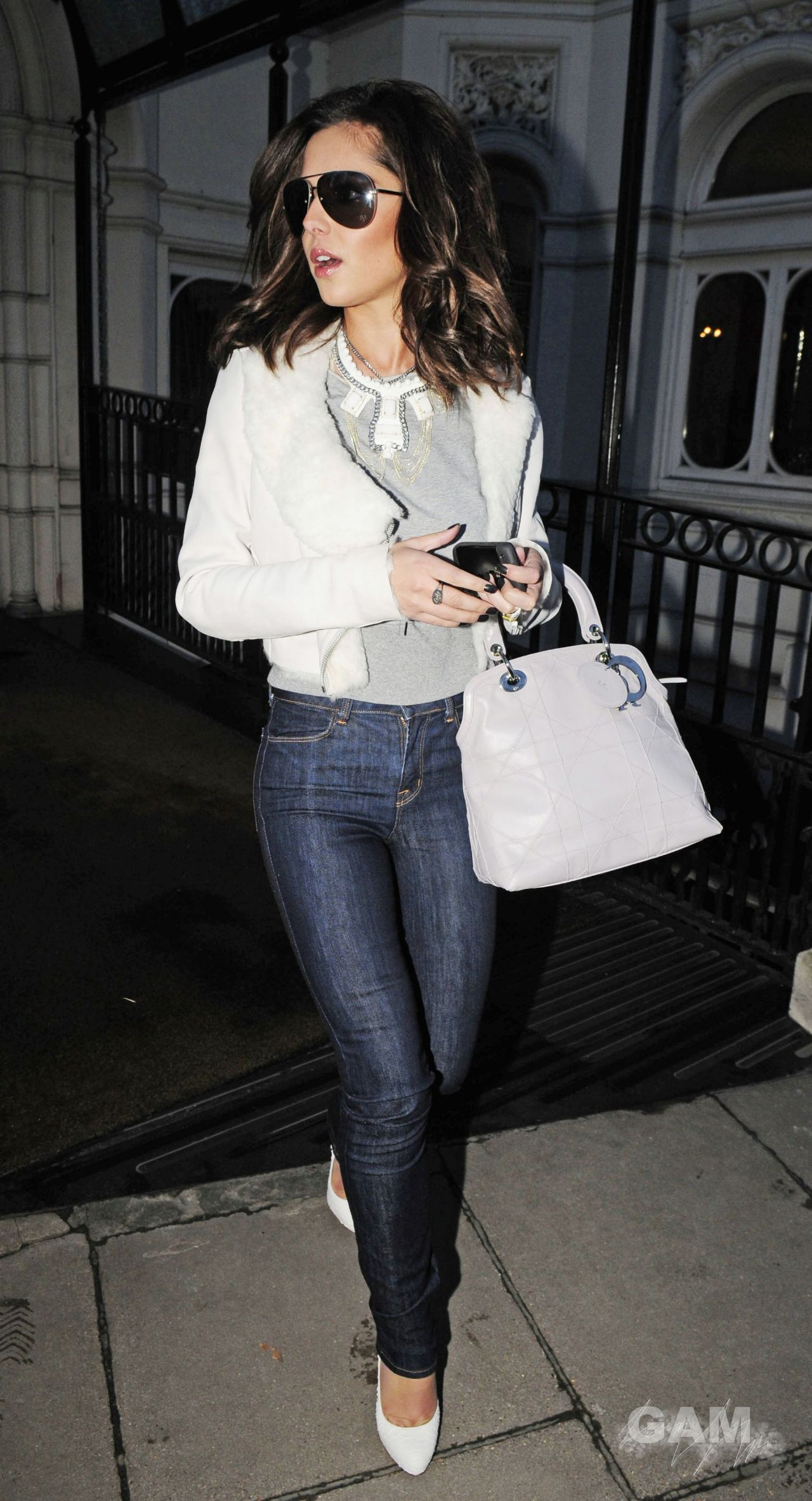 Cheryl Tweedy Cole Street Style - Leaving London Hotel
