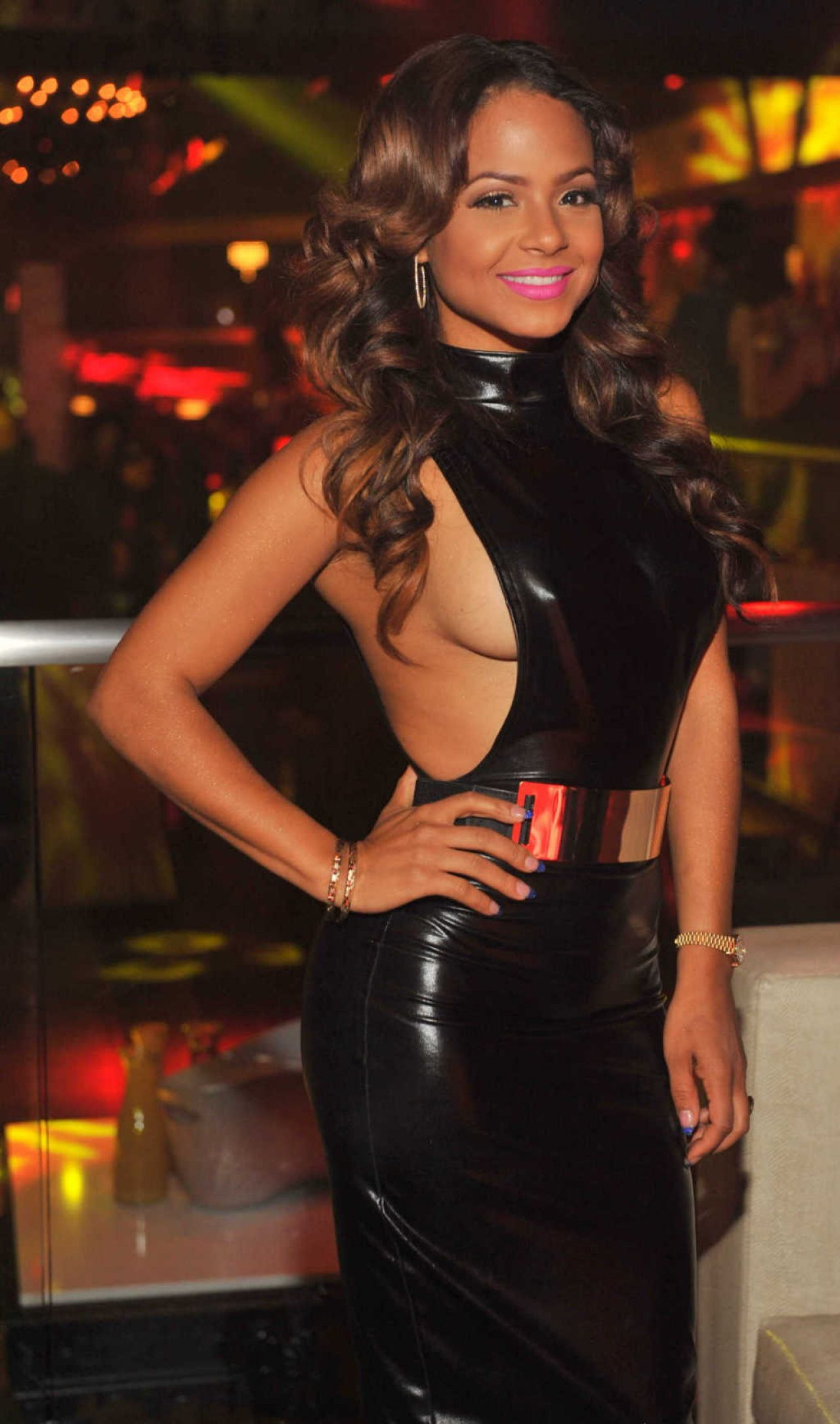 Christina Milian Latest Hot Pics in Black Dress - at Privé Nightclub in Atlanta