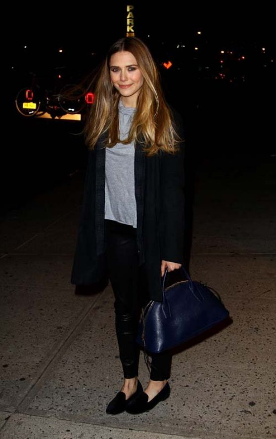 Elizabeth Olsen Street Style - Arriving at The Daily Show with Jon Stewart in New York City