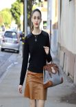 Emmy Rossum Street Style - out in Chicago - November 2013