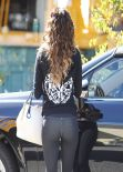 Eva Longoria Street Style - in Tights - Out in Los Angeles