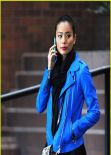 Jamie Chung Street Style - Candy in a Blue Jacket Out in New York City - November 2013