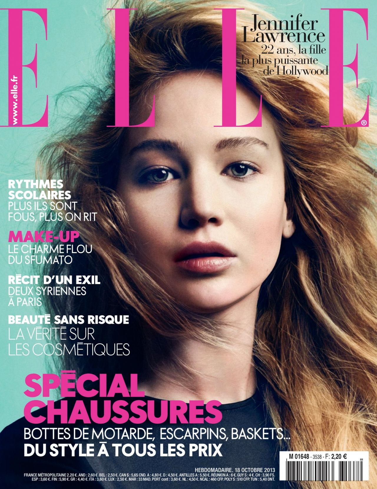 Jennifer Lawrence ELLE Magazine France Cover Girl - October 2013 Issue