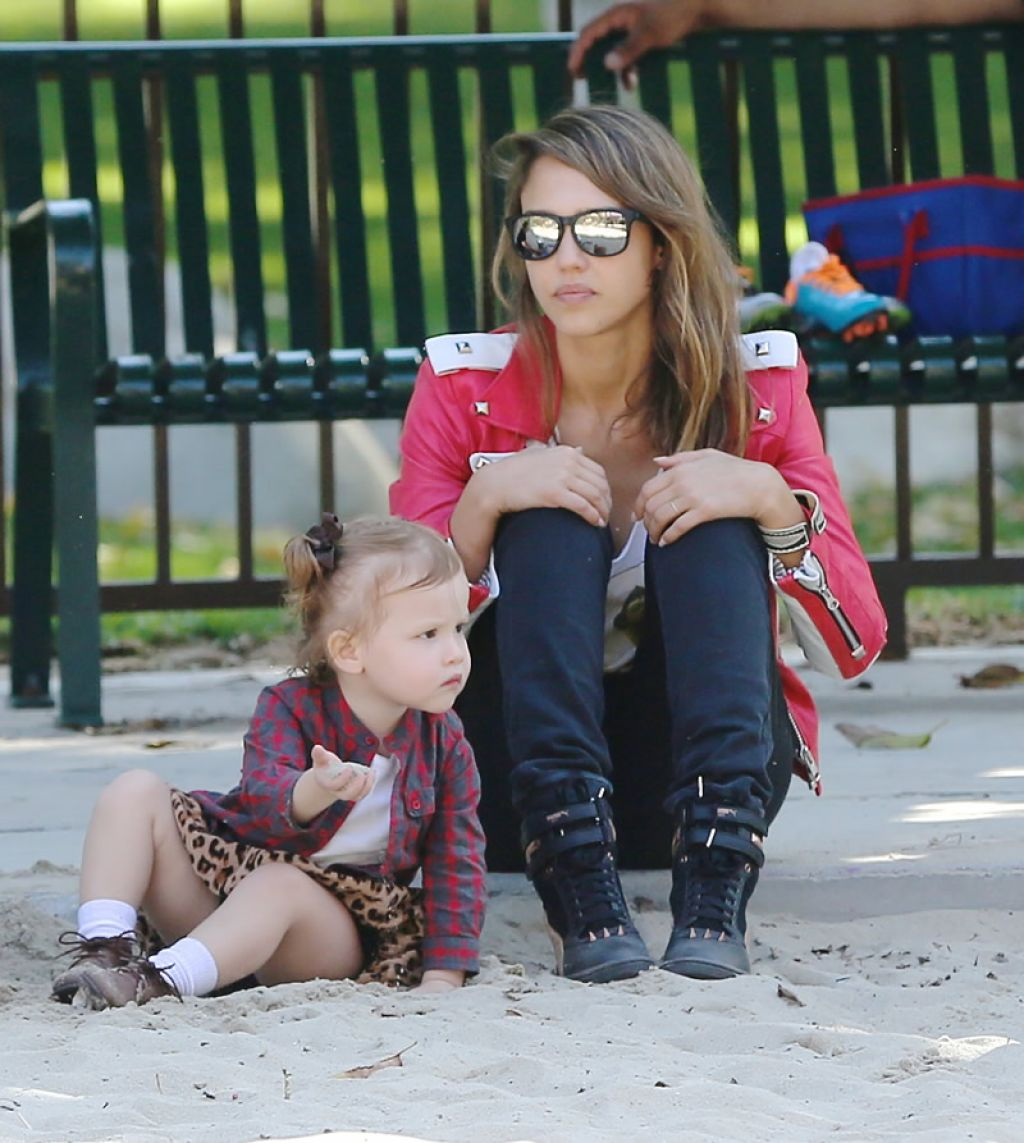 jessica alba street style at a park in los angeles