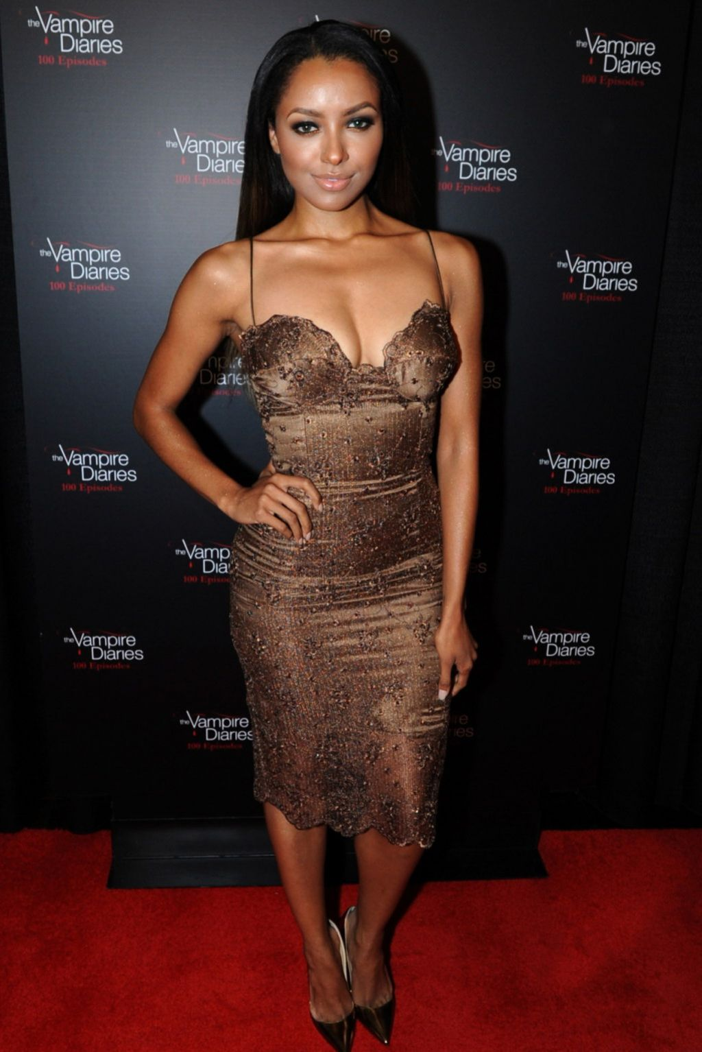 Kat Graham on Red Carpet - The Vampire Diaries 100th Episode Celebration