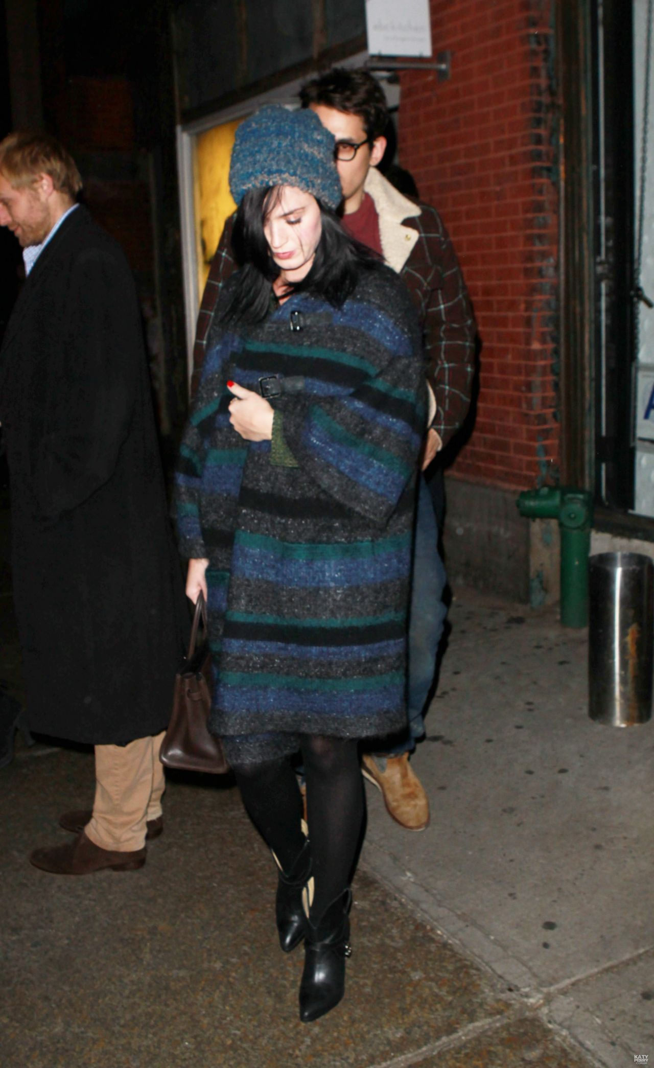 perry street style leaving abc kitchen restaurant in new york