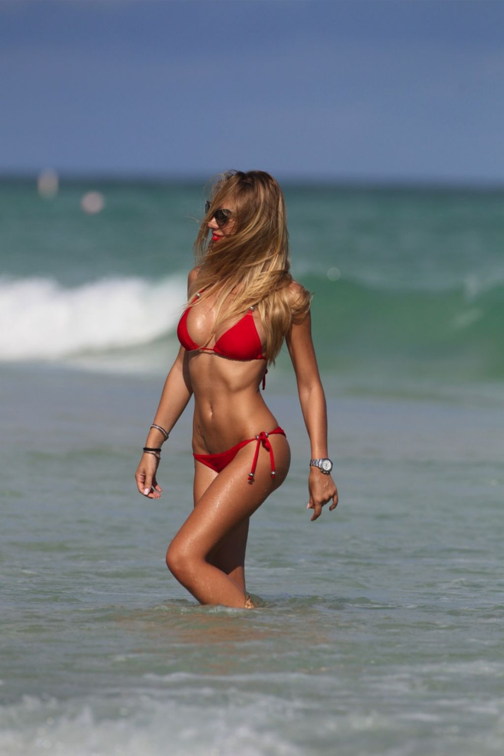 Laura Cremaschi in a Red Triangle Top Bikini -  Miami Beach November 2013