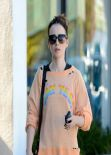 Lily Collins Street Style - Leaving the Gym in LA