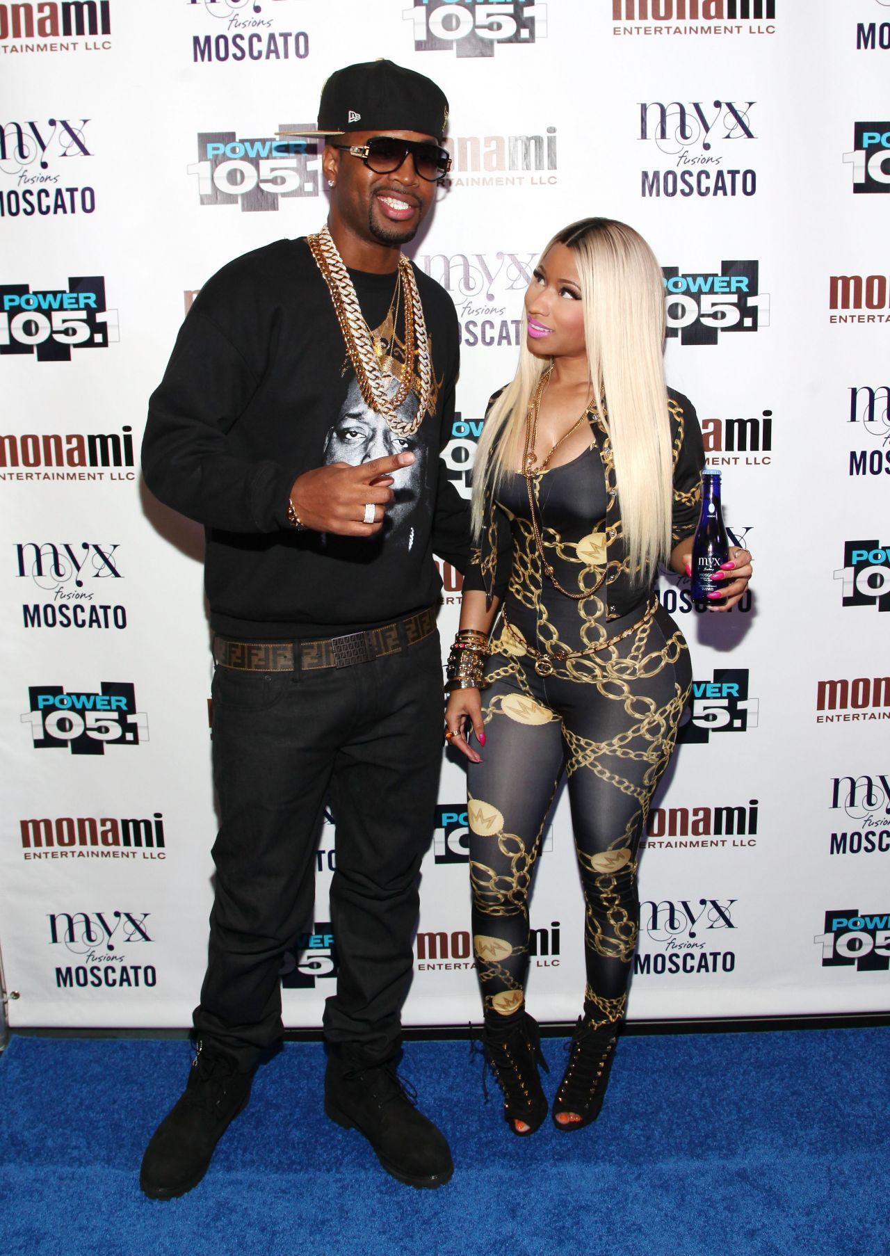 Nicki Minaj in Skintight Printed Jumpsuit at Power105.1