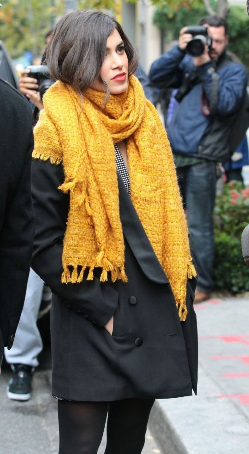 Nikki Reed in a Big Yellow Scarf - Out in New York City