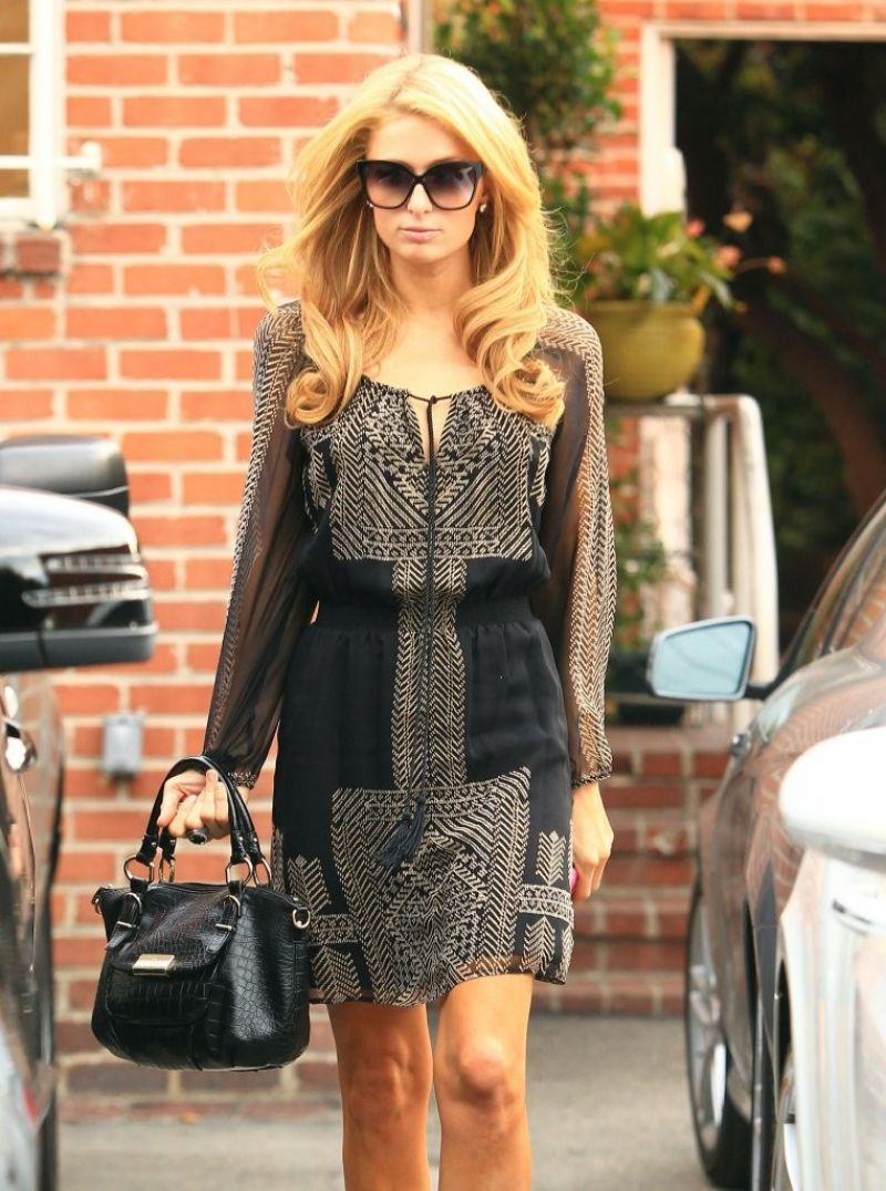 Paris Hilton Street Style - Visits Piny Salon in Beverly Hills