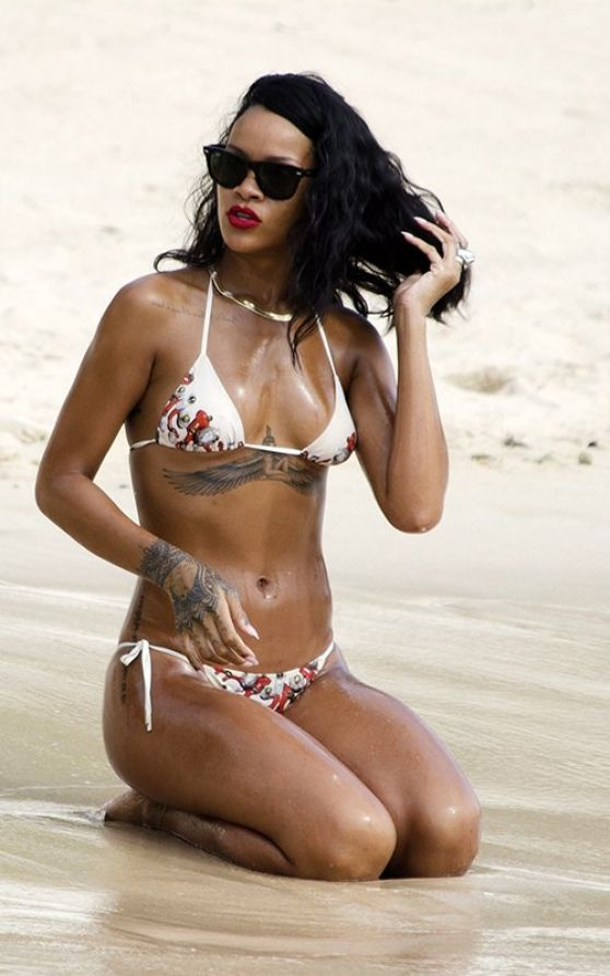Rihanna in a Bikini at a Beach in Barbados