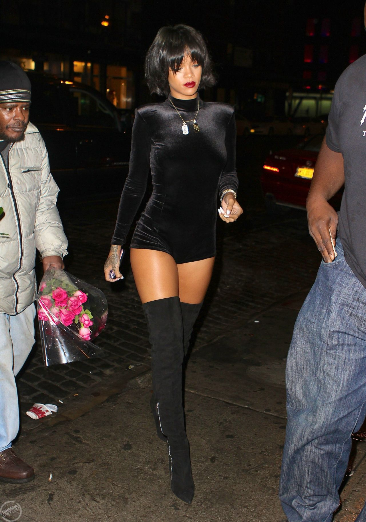 Rihanna Street Style Wearing A Short Jumpsuit In New