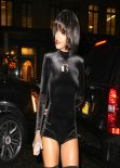 Rihanna Street Style - Wearing a short Jumpsuit in New York City - November 2013