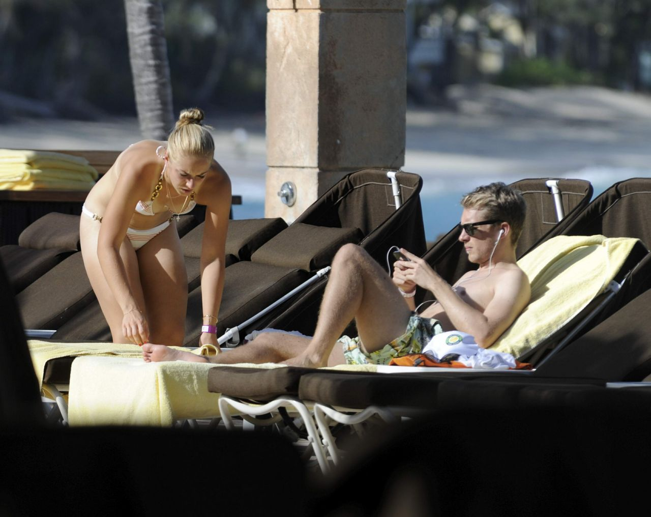 Sabine Lisicki in a Bikini at the pool in Bahamas - November 2013