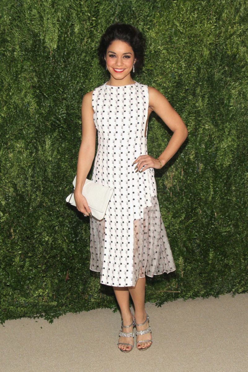 Vanessa Hudgens Attends CFDA & Vogue Fund Reception in New York City