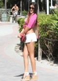 Claudia Romani in Short Skirt - Heading to the Beach in Miami - December 2013