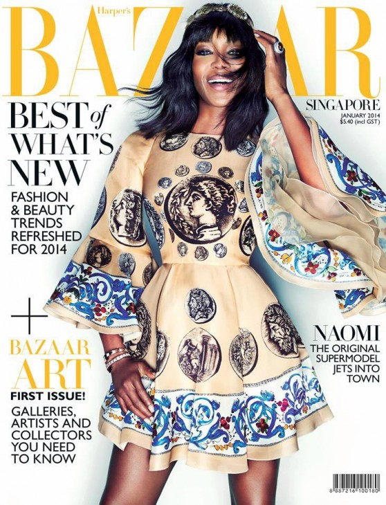 Naomi Campbell - HARPER'S BAZAAR Magazine (Singapore) - January 2014 Issue