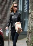 "Abbey Clancy Street Style - in Tight Navy Blue Leggings Leaving ""Strictly Come Dancing judges"" - December 2013"