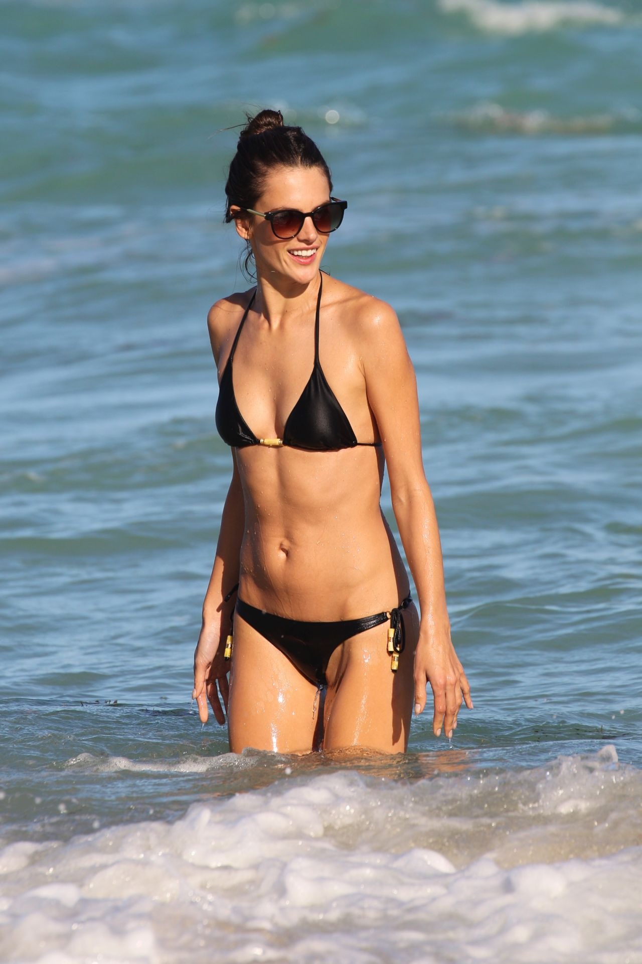 Alessandra Ambrosio in a Bikini at the Beach in Miami - December 2013