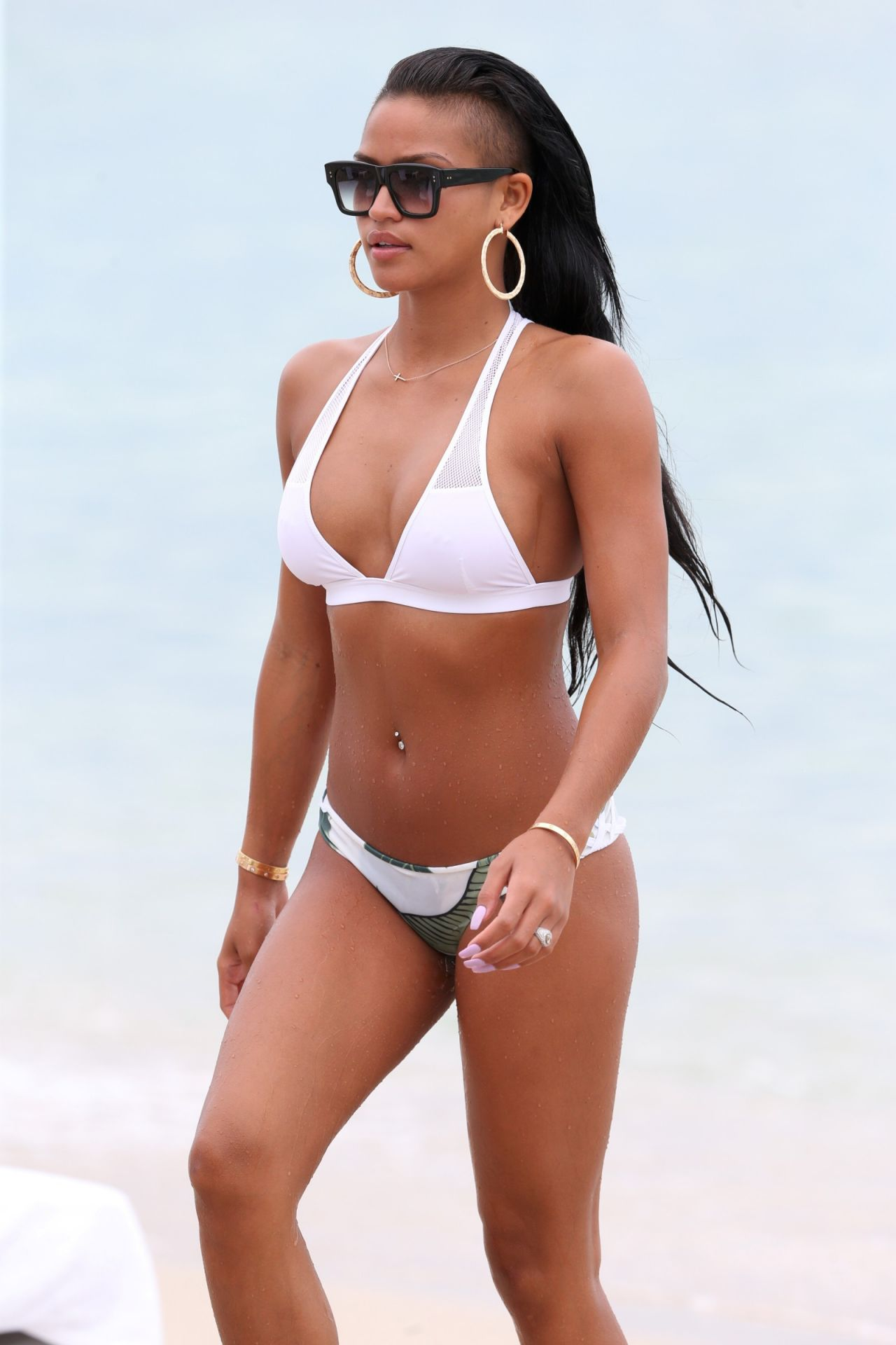 Cassie Ventura in a White Bikini in Miami Beach - July 2013