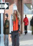 Elle Macpherson Street Style - out in Aspen - December 2013