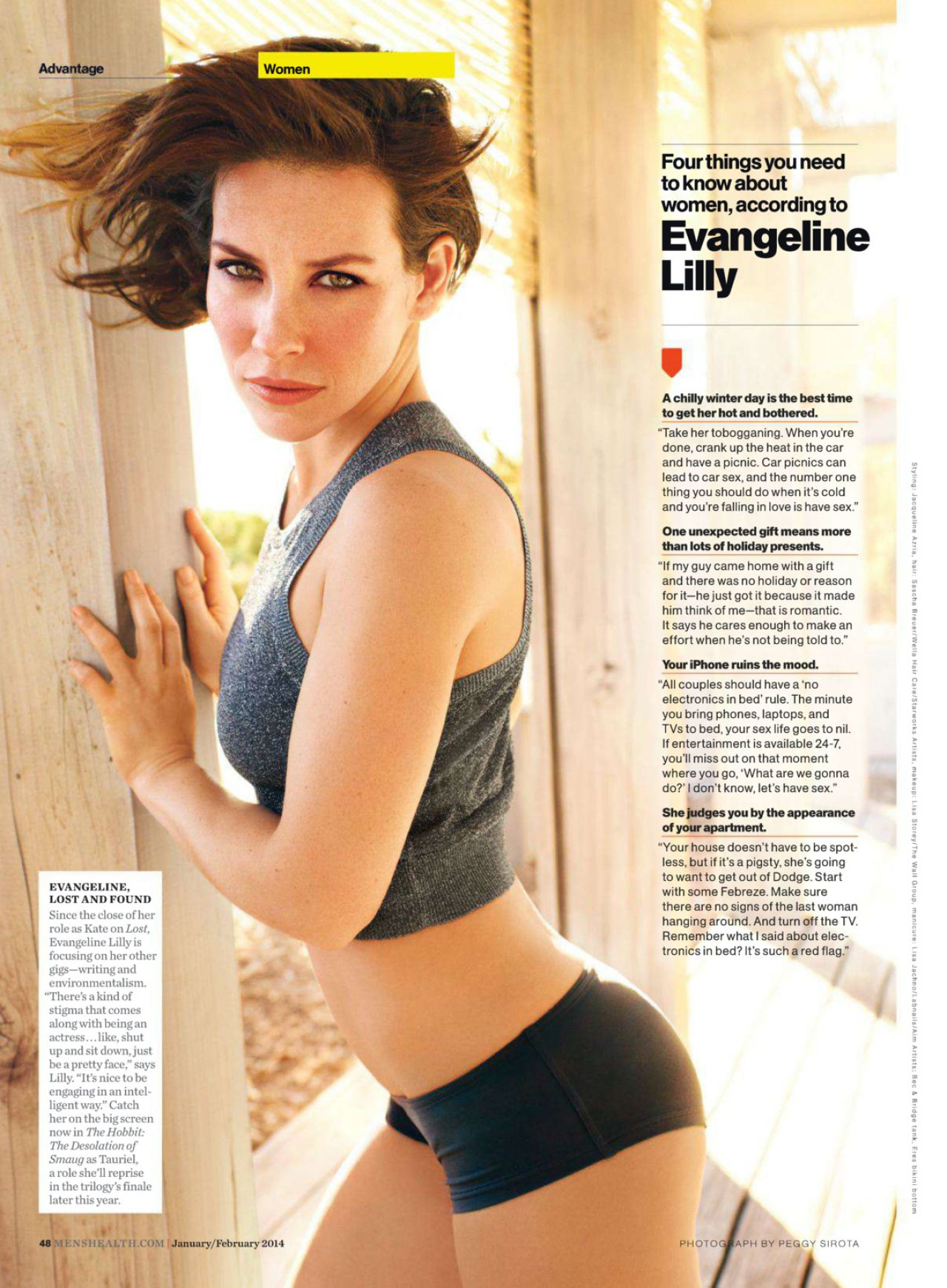 Evangeline Lilly Men S Health Magazine January