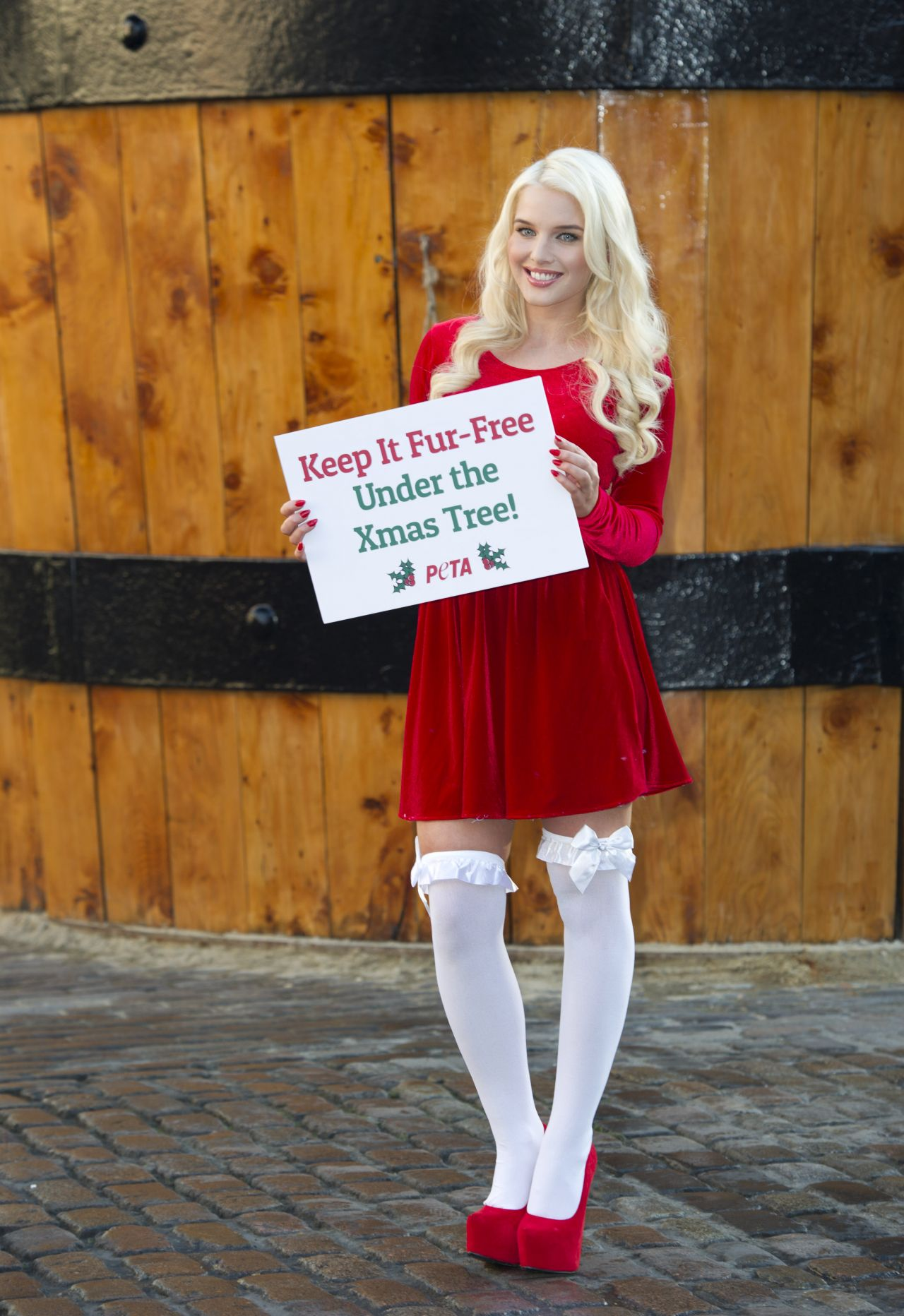 "Helen Flanagan - ""Keep It Fur-Free Under the Xmas Tree"" PETA Campaign - London December 2013"